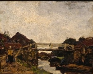 """Jacob Maris """"Houten brug over een vaart bij Rijswijk"""""""